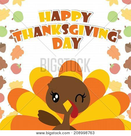 Cute turkey girl is winking vector cartoon illustration for thanksgiving's day card design, wallpaper and greeting card