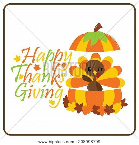 Cute turkey girl in pumpkin vector cartoon illustration for thanksgiving's day card design, wallpaper and greeting card