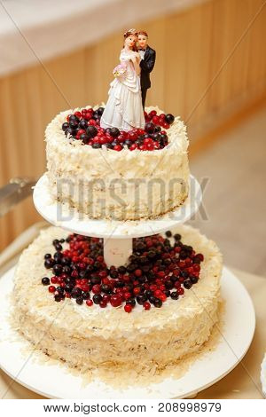 A wedding cake topper on top of the newlyweds dessert