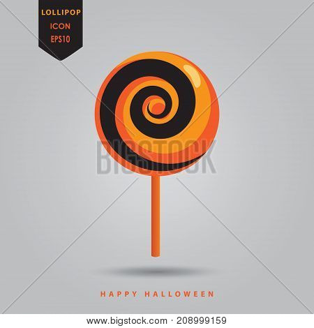 Halloween Lollipops icon with Popping Candy poster. Sweet Halloween - text vector illustration. Sweet candy orange and black color.