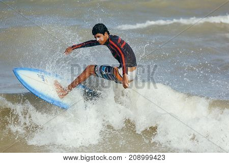Cabedelo, Paraiba, Brazil - October 15, 2017 - Surfer On The Wave