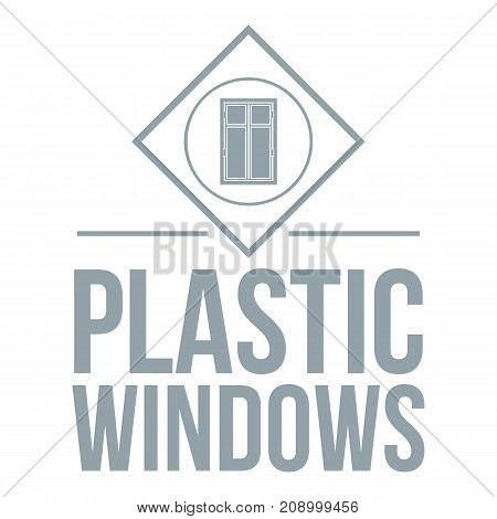 Plastic window logo. Gray monochrome illustration of plastic window vector logo for web