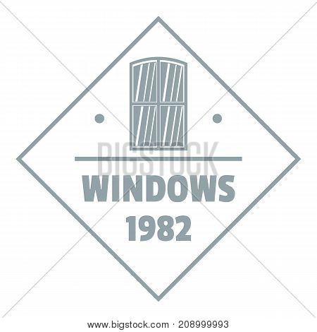 Window frame logo. Gray monochrome illustration of window frame vector logo for web