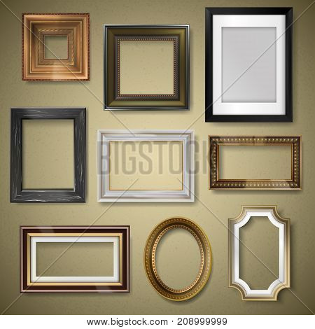 Vector retro vintage art photo picture frames museum exhibition decorative antique decoration wall. Photograph art paper framewooden square blanck realistic 3d