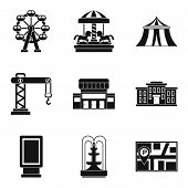 Accomplishment icons set. Simple set of 9 accomplishment vector icons for web isolated on white background poster