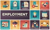 Employment - set of flat design infographics elements. Recruiting, approved candidate, salary, singing contracts, career growth, schedule, best proposal, education, office building, staff turnover poster