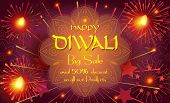 Diwali sale prosperous banner with burning diya - oil lamp traditional Indian symbol and happy Diwali Holiday Sale text promotion advertisement fireworks mandala decorative background of Deepavali light festival India. poster