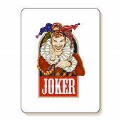 Joker playing card design. Men in joker costume. Colored vector illustration. poster