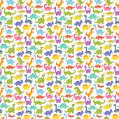 Dinosaur cartoon seamless pattern vector illustration. Cartoon dinosaurs cute monster background funny animal and prehistoric character. Cartoon comic tyrannosaurus fantasy beast. poster