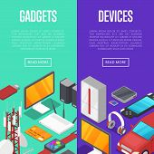 Gadgets and computer devices isometric posters. Global social media and communication concept. Smart watch, laptop, tablet PC, usb drive, gamepad, mp3 player, wifi router vector illustration. poster
