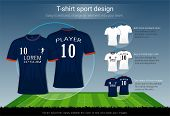 T-shirt sport design for football club on soccer playing field background, Front and back view jersey shirt uniform, Sport slim fit apparel mock up, Easy modify photo file to add logo into your team. poster