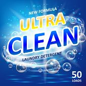 Soap ultra clean design product. Toilet or bathroom tub cleanser. Wash soap background design. Laundry detergent package ads. Washing machine laundry detergent packaging template. Vector illustration EPS 10 poster