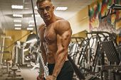 Confident Handsome Athletic Bodybuilder Workout Triceps Pushdown Rope Attachment Shirtless power sportsmen perfect physique Vein Core Deltoid Motivation inspiration concept Training body builder poster