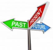 Three colorful arrow signs reading Past, Present and Future, depicting the choices and decisions involved in picking the right way and looking forward or backward poster