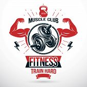 Graphic vector insignia created with strong sportsman biceps armб disc weight dumb bell and kettle bell sport equipment. Symbol for heavyweight gym or fitness sport gymnasium poster