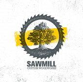 Sawmill Reclaimed Wood Artisan Carpentry Creative Rough Design Element On Grunge Background. Old Oak Tree Vintage Illustration. poster