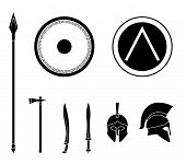 Set of ancient greek spartan weapon and protective equipment. Spear sword gladius shield axe helmet. Warrior outfit Vector illustration poster