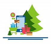 Mobile online store smartphone cart : concept of mobile phone order purchase internet shop showcase ecommerce.Festive shopping online. Christmas shopping. poster