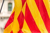 An estelada the Catalan separatist flag Barcelona Catalunya Spain. Close-up poster