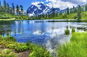Picture Lake Evergreens Mount Shuksan Mount Baker Highway Snow Mountain Trees Washington Pacific Northwest USA poster