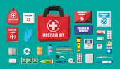 First aid kit with medical equipment and medications. Cloth bag for medicine. Healthcare, hospital and medical diagnostics. Urgency and emergency services. Vector illustration in flat style poster