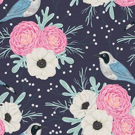Seamless pattern with pink camellias, white anemone flowers, dusty miller, gypsophila and birds. Winter floral background. Vintage hand drawn vector illustration in watercolor style