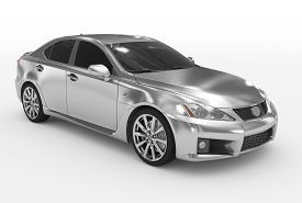 Car Isolated On White - Silver, Tinted Glass - Front-right Side View