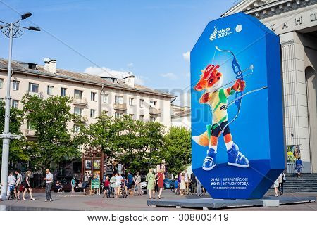 Minsk, Belarus, June 22, 2019: 2nd European Games Billboard With The Logo Of European Games In The C