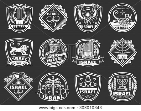 Israel Shield Badges With Judaism Religion And Culture Vector Symbols. Star Of David, Jewish Menorah