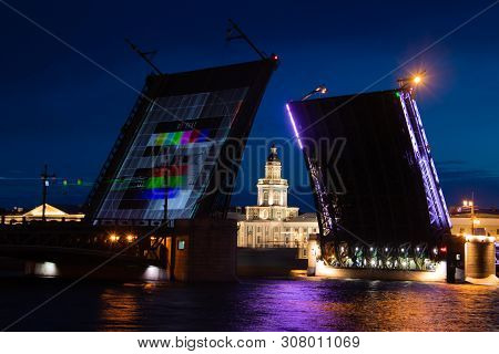 Dilution Of Bridges In St. Petersburg. Peter Romance. Sight Of Peter. Neva River. Dawn In The City.