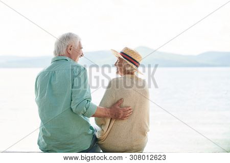 Rear view of casual senior couple chatting by waterside