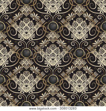 Floral Greek Vector Seamless Pattern. Ornamental Geometric Background. Vintage Golden Flowers, Leave