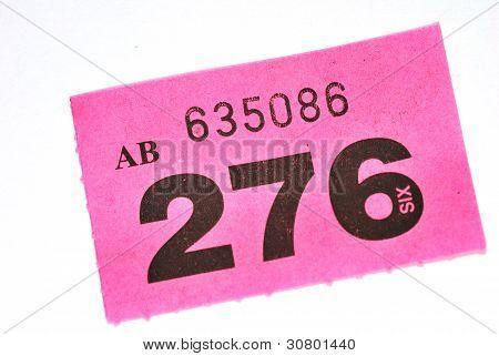 Purple raffle ticket