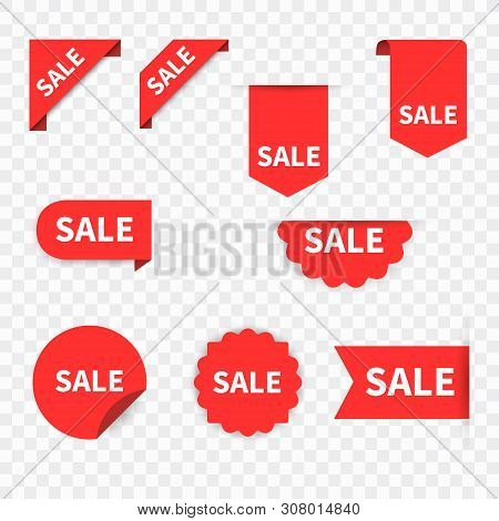 Sale Label Collection Set. Sale Tags. Discount Red Ribbons, Banners And Icons. Shopping Tags. Sale I
