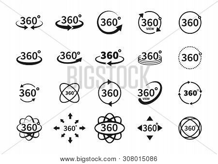 360 Degree Views Of Vector Circle Icons Set Isolated From The Background. Signs With Arrows To Indic