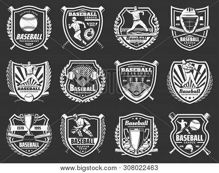 Baseball Sport Game Shield Badges Vector Design. Balls, Bats And Players, Championship Winner Trophy