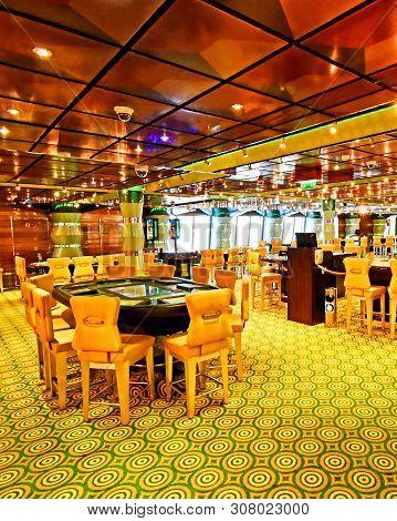 Kristiansand, Norway - July 19, 2017: - July 19, 2017: Casino Area Aboard The Cruise Ship Costa Favo