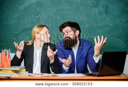 Teacher Principal Decide Who Will Enter Private School. Interviewing Enrollee. Private Elite School.