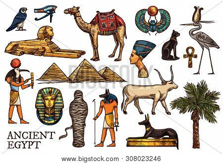 Ancient Egypt Vector Sketches Of Religion, Travel Symbols. God Anubis, Pharaon Pyramids And Sphinx,