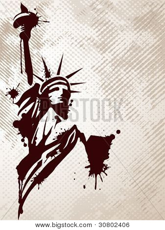 Image of the Statue of Liberty on grungy background for American day and other events. Vector illustration.