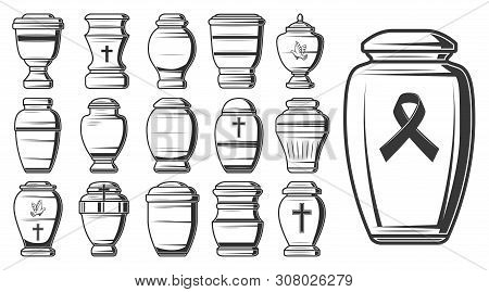 Funeral Urn Sketches Of Vector Cremation And Burial Containers, Columbarium Vases, Jars And Pots Wit