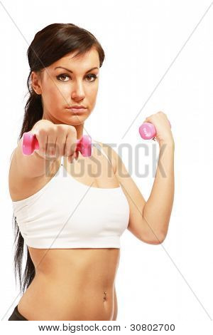 Young fitness woman exercising isolated on white