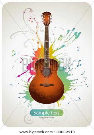 Guitar on colorful splattered background poster