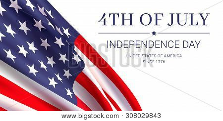 4th Of July - Independence Day. United States Of America Since 1776. Vector Banner Design Template W