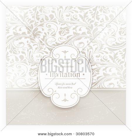 Invitation, carte d'anniversaire avec étiquette pour votre texte personnalisé dans les tons de blancs cassés subtils une