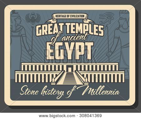 Ancient Egypt Temples Vector Design Of Egyptian Travel And Tourism. Pharaoh And Queen Hatshepsut In