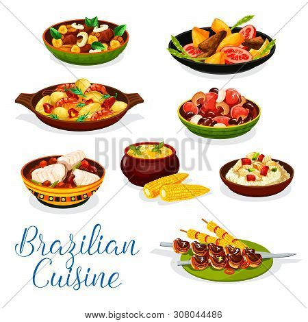 Brazilian Cuisine Meat And Seafood Dishes Vector Design. Grilled Beef On Skewers Churrasco, Fish Ric