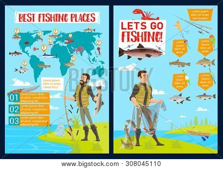 Fishing Sport Infographics With Vector Fisherman Equipment And Fish Catch Charts. Fisheries World Ma