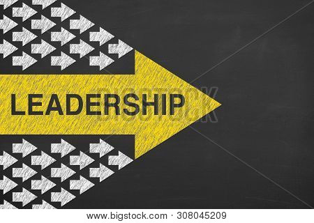 Leadership Concepts On Chalkboard Background Business Concepts