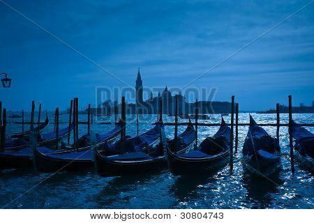 Gondolas Moored By Saint Mark's Square In Venice